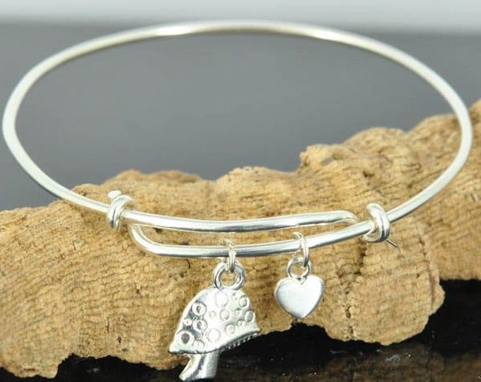 Mushroom Bangle, Sterling Silver Bangle, Mushroom Bracelet, Bridesmaid Gift, Personalized Bracelet, Charm Bangle, Initial Bracelet