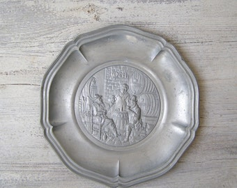 Russian Winery Plate, Antique Winery Wall Art, Man Cave Gift, Pewter Decorative Plate Metal Artwork, Barware Decor Vintage Collectible Plate