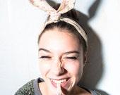 retro headband - rockabilly headband - bunny headband - fabric headband with wire