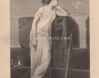 Fear & Darkness Reign-Death-Love-Danger-Full Moon-Greek Mythology-Hero-Leoander-1884 Antique Vintage Art Print-Gothic-Picture-Poem-Poetry
