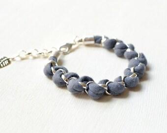 Grey Bracelet, Fabric Bracelet, Woven Chain Bracelet, Friendship Bracelet  Gray Jersey
