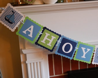 Ahoy Its A Boy Banner, Nautical Baby Shower, Sailboat Banner, Nautical Baby Shower, Navy, Blue, Lime