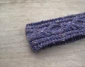 Hand knit headband violet chunky earwarmer gift purple merino wool tweed - Choose color