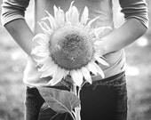 Black, white, girl, rustic, farmhouse, girl, sunflower, sunshine, home decor, fine art photograph, 8x10 print