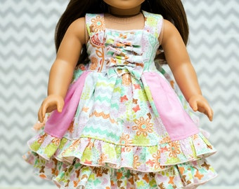 Serena's Doll Size Stripwork Double Layer Dress PDF Pattern for 15- and 18-inch Dolls