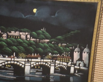 Moon Over Tiber/HANDPAINTED FABRIC/Vintage/1960's/Unsigned/Hand Carved Wooden Frame