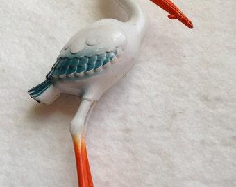 Great Vintage Plastic Stork Rattle