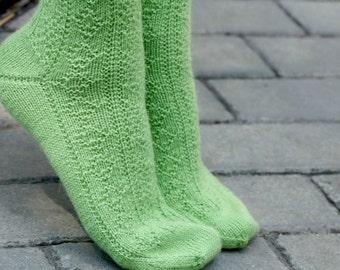 Hand knitted women fishnet Socks green alpaca wool