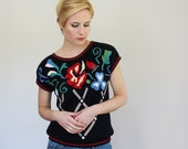 1980s Funky Floral Print Short Sleeve Knit Sweater / Cap Sleeve / Medium