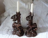 Antique black forest carving carved wooden candle sticks w deer RARE 1800s wooden Schwarzwald folk art wood carving candlestick holders