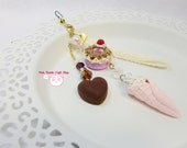 Miniature sweet clay donut and ice cream phone charms