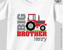 Red Tractor Big Brother To Be Shirt or Bodysuit - Personalized Big Brother Shirt