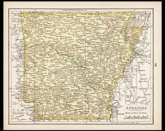 Small Arkansas Map of Arkansas State Map (Map Wall Decor Print, Old Vintage Wall Art, Color Atlas Map) Antique Map No. 61-3