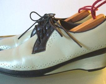 Vintage Seafoam Green Wedge Heel Oxfords Size 9N US