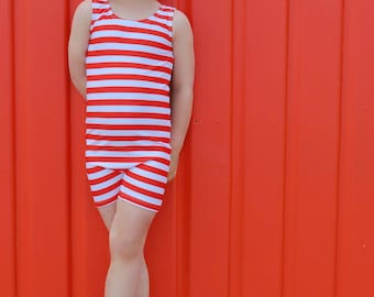 Vintage Swimsuit Unitard Pattern Matilda pdf sewing pattern in girls sizes 2-14