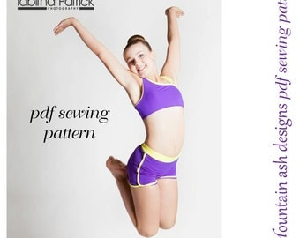 Dance Pattern Alana pdf sewing pattern gymnastics & dance singlet, crop top and shorts in girls sizes 2-14