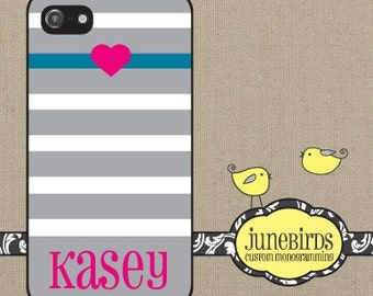 Personalized Iphone 4/4S and Iphone 5 Cell Phone Case - Gray Stripe with Heart