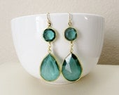 Emerald Green Faceted Earrings