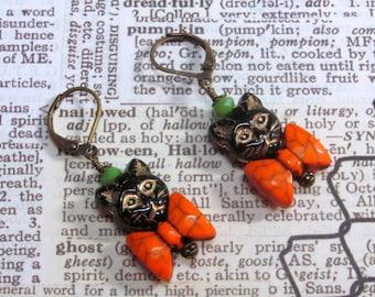 Halloween Black Cat Earrings, Halloween Earrings, Black Cat Earrings, Cat Earrings, Orange Earrings, Holiday Earrings, Halloween Jewelry