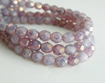 Lavender purple opal Picasso finish fire polished Czech glass faceted round beads 6mm half strand NFP6-22