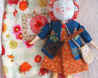 Art Doll Collectors OOAK  ZINNIA with Jacket Dress Bloomers, Scarf Seed Bag and Balalaika