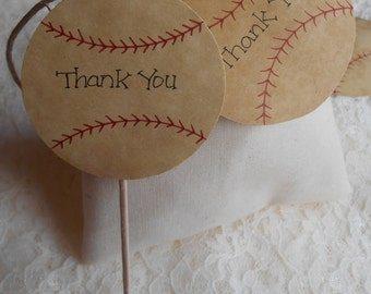 12 BASEBALL Cupcake Toppers Tattered Worn Vintage Appearance