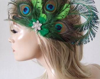 Bridal Bridesmaids Fascinator Curled Peacock Feathers + Crystal Brooch Lime Olive Emerald Green Clip MNB118 - Woodland Theme Wedding Hair