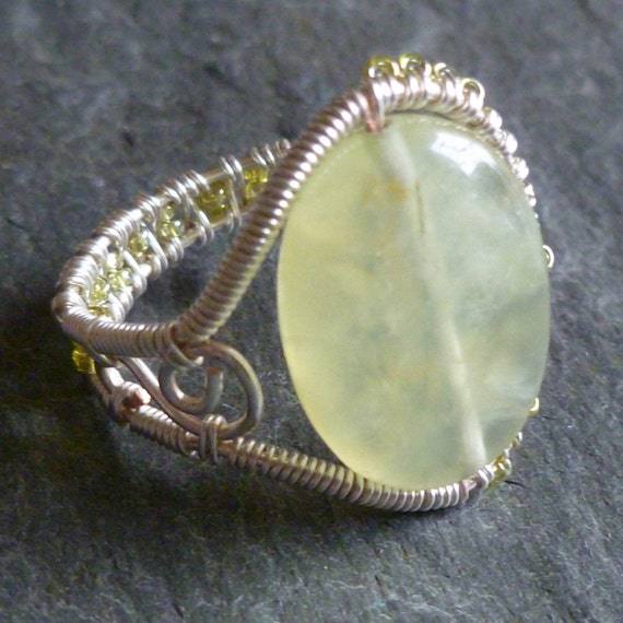 Prehnite and Glass Seed Bead Adjustable Ring - Silver Plated Woven Wire Wrapped Adjustable Ring with Scroll- Pale Green