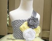 yellow grey flower girl tutu dress