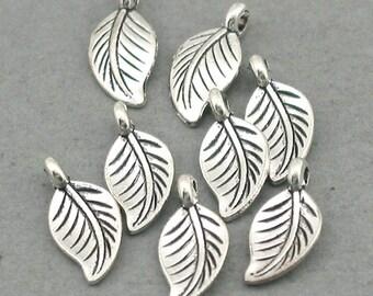 Small Leaf 3D Charms Antique Silver 12pcs zinc alloy pendant beads 7X14mm CM0662S