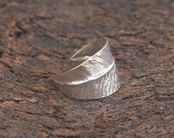 Silver Leaf Ring , Adjustable Ring , Handcrafted Sterling Silver Feather Ring , Leaf Jewelry , Gift Idea , Feather Ring , Nature Ring