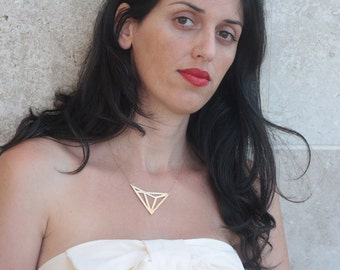 Triangles Necklace , Gold Geometric Necklace , Geometric Pendant , Gold Triangles Charm ,   Art Deco Necklace , Geometric Jewelry