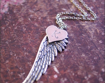 Angel Wing Necklace -HANDSTAMPED Initial Jewelry- Perfect PERSONALIZED GIFT, Beautiful Detailed Angel Wing