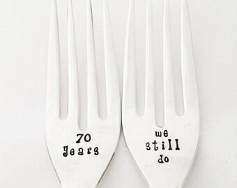 70th Anniversary Wedding Gift Ideas : 70th Wedding Anniversary Vintage Fo rk Set stamped Silverware 70 year ...
