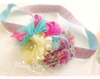 Sharing Spring Headband, Easter and Pastel Rainbow Headband. Baby Headband, Shabby chic Chiffon and Rosette Headband. Toddler Headband