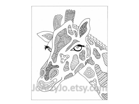 Giraffe Printable Zentangle Inspired Coloring Page Zendoodle 43