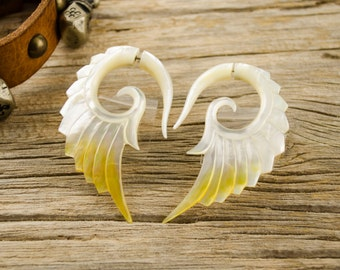 Fake Gauges Earrings Mother Pearl Earrings Wings White Angel Tribal Earrings - Abalone Shell Gauges - FG002 AS G1