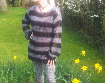 Hand Knitted Made To Order Lacy Openwork Mohair Sweater Dress Black & Dark Grey Stripes Goth Visual Kei / Kera