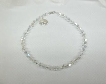 Silver Sandollar Bracelet Sand Dollar Bracelet With Swarovski Elements Clear AB Crystal Bracelet Sterling Silver Bracelet BuyAny3+Get1 Free