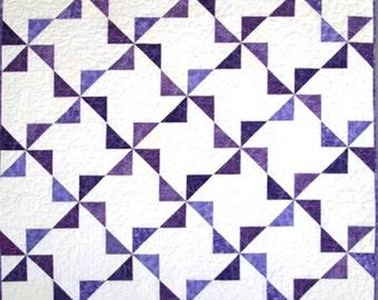Purple Pinwheels Throw or Lap Quilt, 49 in. X 63 in.