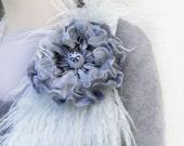Felt flower brooch black white  Poppy /Wool Felt Jewelry/ gift idea for her /Wedding