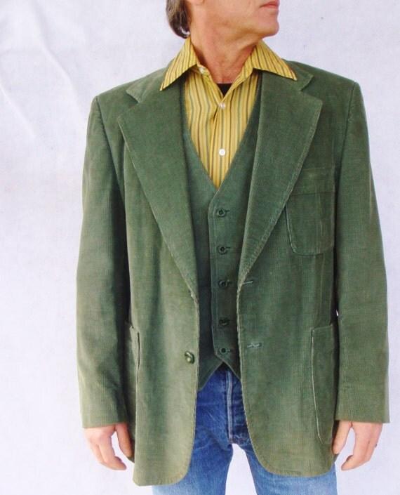 Cord sakko gr n weste designer 2 st ck anzug disco hipster - Hipster anzug ...