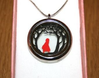 Red Riding Hood Papercut Pendant