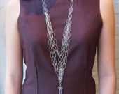 ON SALE-Statement Necklace-Cascading Chains with Double Quartz Drops-metaphysical jewelry