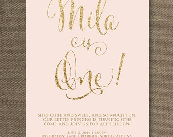 Blush Pink & Gold Birthday Invitation Girl Gold Glitter Pastel Pink Script Modern First 1st FREE PRIORITY SHIPPING or DiY Printable - Mila