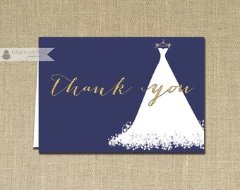 Gold Glitter Wedding Gown Thank You Card INSTANT DOWNLOAD Navy Blue Folded Note Card Notecard Blank Inside Digital or Printed - Carly