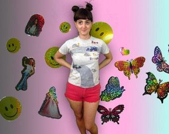 90s Puff Paint Dare To Dream Car T Shirt / Novelty / Hand Made / Grunge / Kitschy / Club Kid /