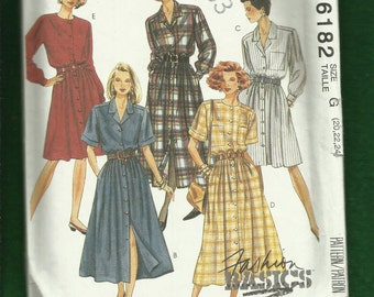 McCalls 6182 Front Button Shirt Dress with Notched Collar & Full Skirt  Sizes 20..22..24 UNCUT