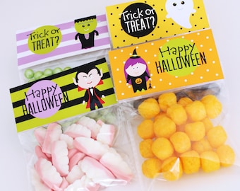 HALLOWEEN Printable Bag Toppers and Favor Tags - Trick or Treat - witch, vampire, Frankenstein and ghost - Print Your Own