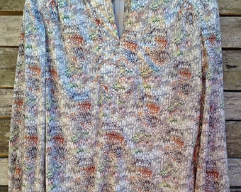 1970's 'Carol of New York' Grey with Brown and Green Patterned Zippered Back Blouse